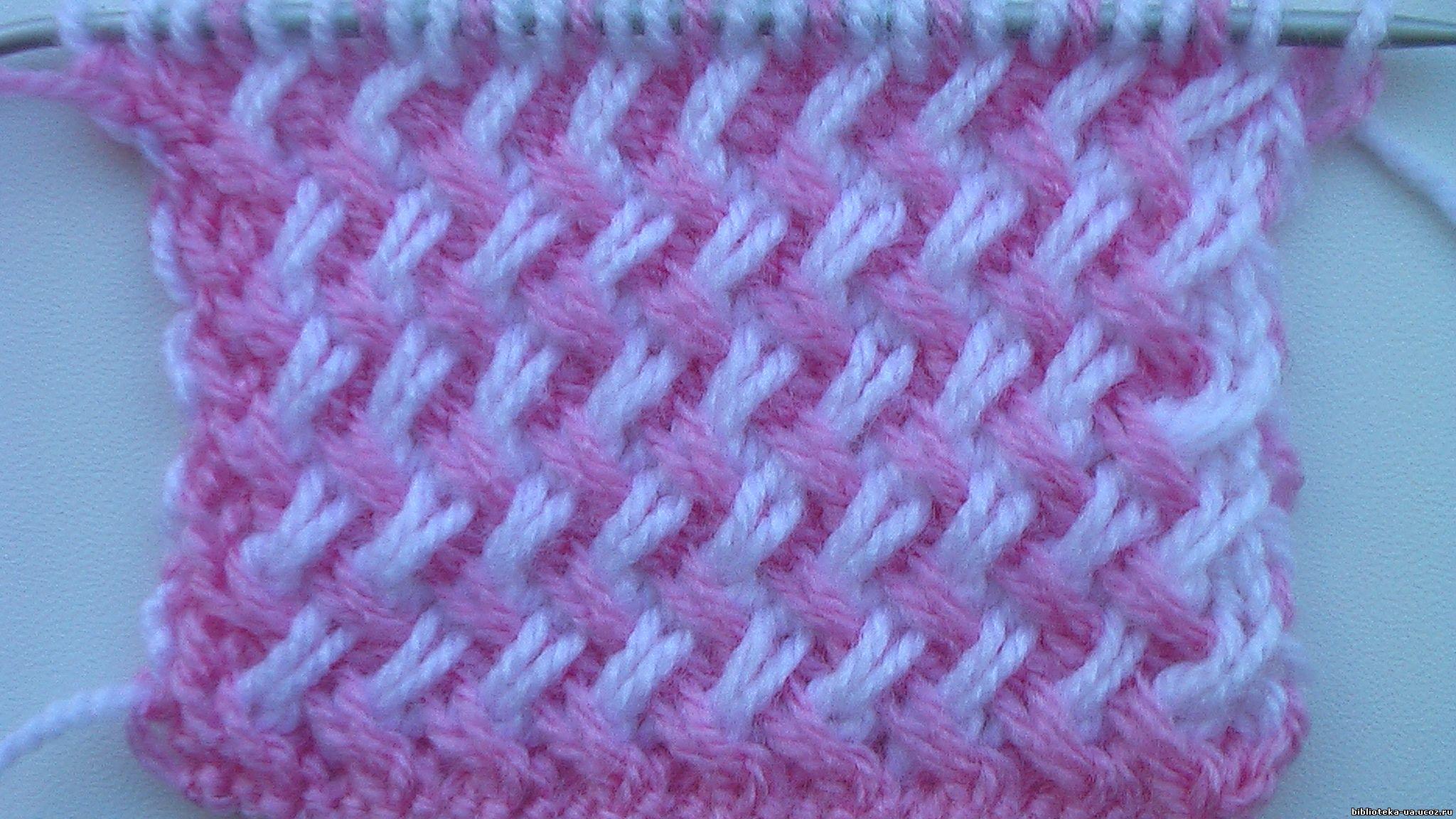 Двухцветный узор из наклонных петель. Зайцева Н.А.