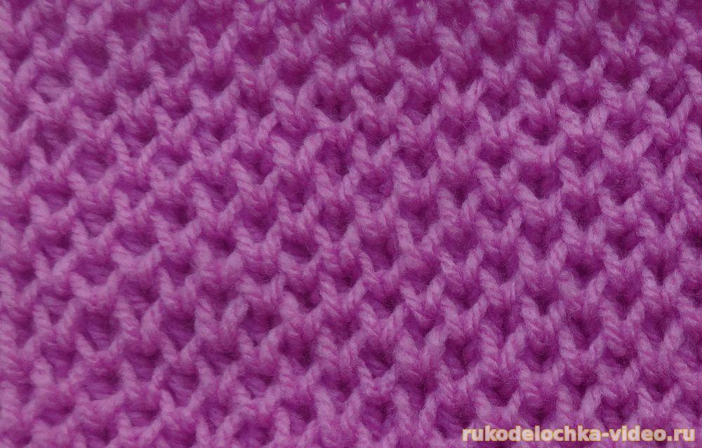 Вязание спицами узор соты с фото.