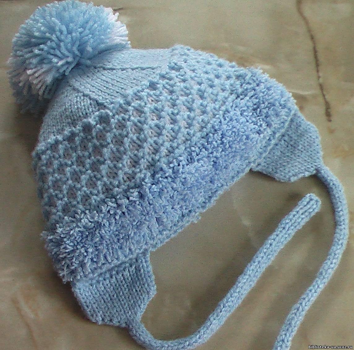 ажурная шапка для девочки двойная спицами схема